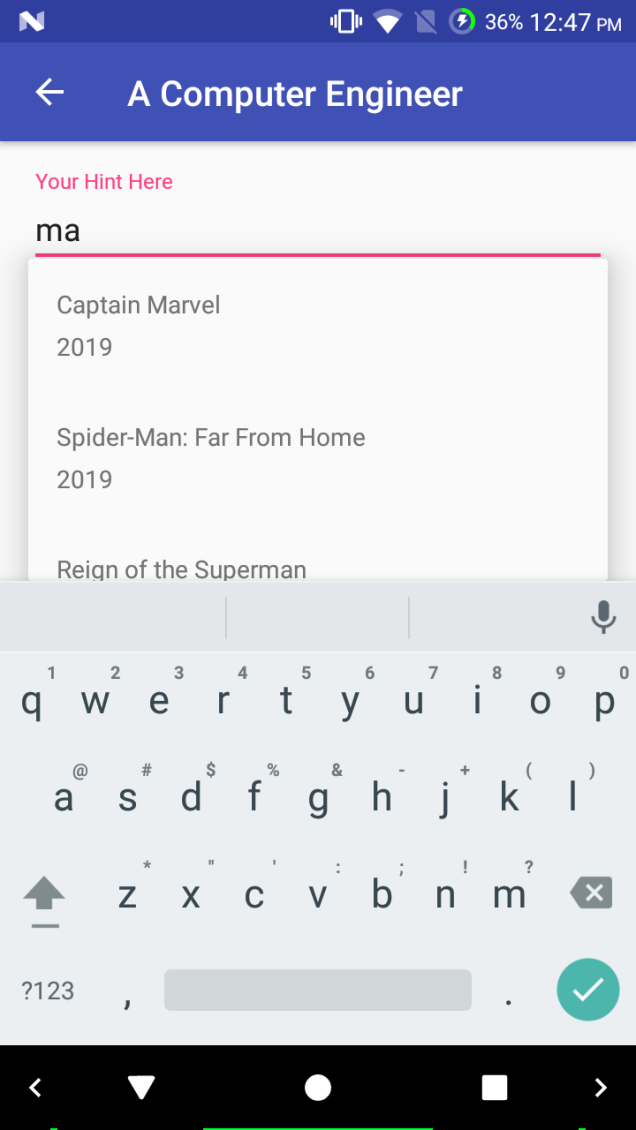 AutoCompleteTextView in Android